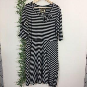 ModCloth Effie's heart striped skater dress